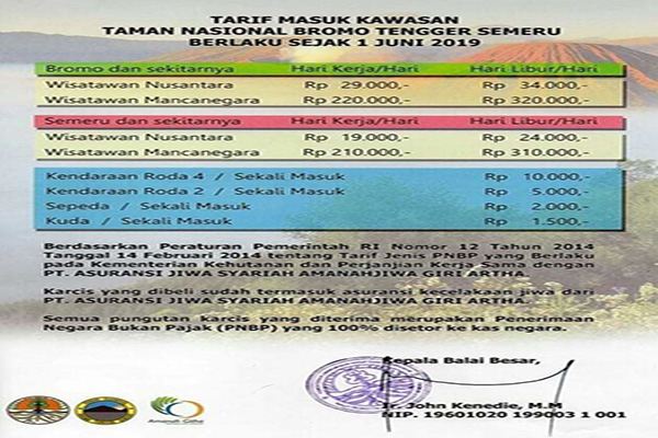 Entrance Ticket Price Mount Bromo